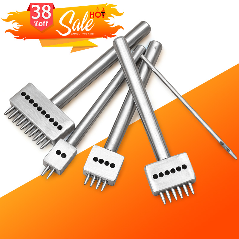 4mm Spacing DIY Hand Perforated Round Stitching Punch Tools Hole Cut Leather Tool 1/ 2/4/6/10/ Holes