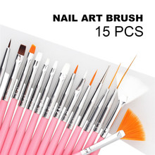 15pcs/lot Nail Art Brush Hot Sale Pink Gel Nail Brush Pen Set Kit