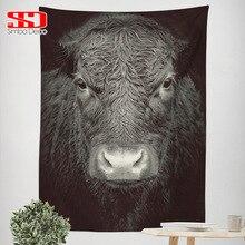 Черный скот гобелен для гостиной дикого быка лицо пушистые животные украшение темное Босси настенный тканевый ковер на стену