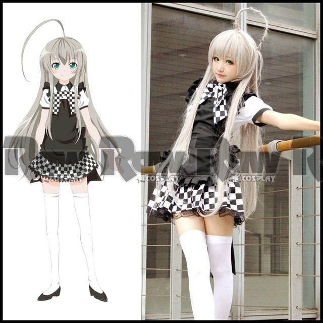 Japanese Anime Nyaruko Cosplay Costume Women Black White Coffee Shop Uniform Maid Dress Lolita Girl