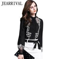 2016 New Women Lace Embroidery Chiffon Blouse Autumn Fashion Runway Style Elegant Long Sleeve Stand Collar