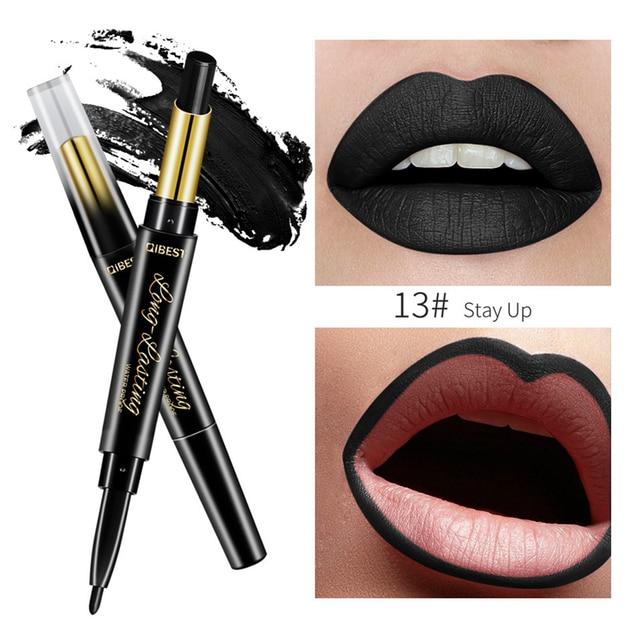 15 Color Lips Makeup Lipstick Sexy Red Lip Matte Long Lasting Lip Pencil Waterproof Stick Liner Double-end Black Matte Lipsticks