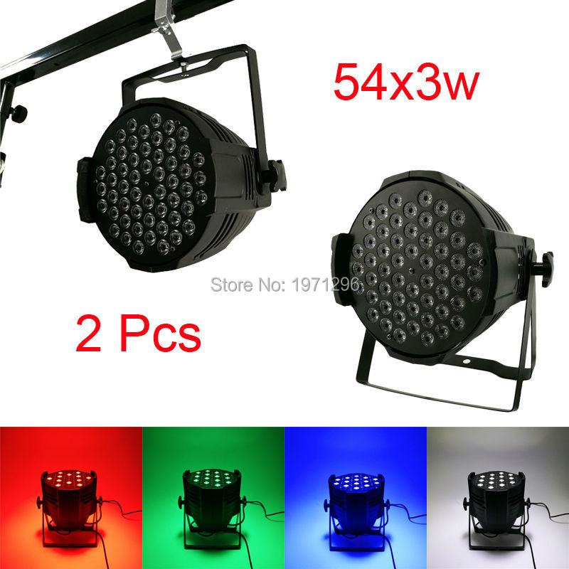 ФОТО 2pcs/lot  LED Par Can 54 x 3W RGBW 180W Color With 8 Channels Power Light with Professional for Party KTV Disco DJ Fast Shipping