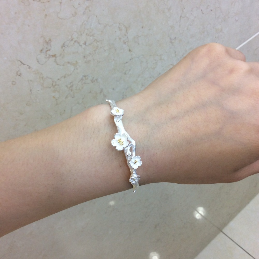 100 925 Sterling Silver Bracelet For Women Open Plum Flower Bangle Bracelet Fashion Adjustable Jewelry For Female Gifts in Bangles from Jewelry Accessories
