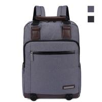 Prince Travel 15 inch Business Travel Backpack with Leather Black Handbag Men School Laptop Bag for Lenovo Macbook ASUS Acer HP