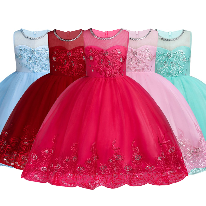 Kids Dresses For Girls Baby Embroidery Tulle Tutu Princess Dress Christmas Flower Dress Children Princess Costumes Kids Clothing new year princess dress children clothing red with white baby girl christmas dresses clothes kids xmas party tutu dress costumes