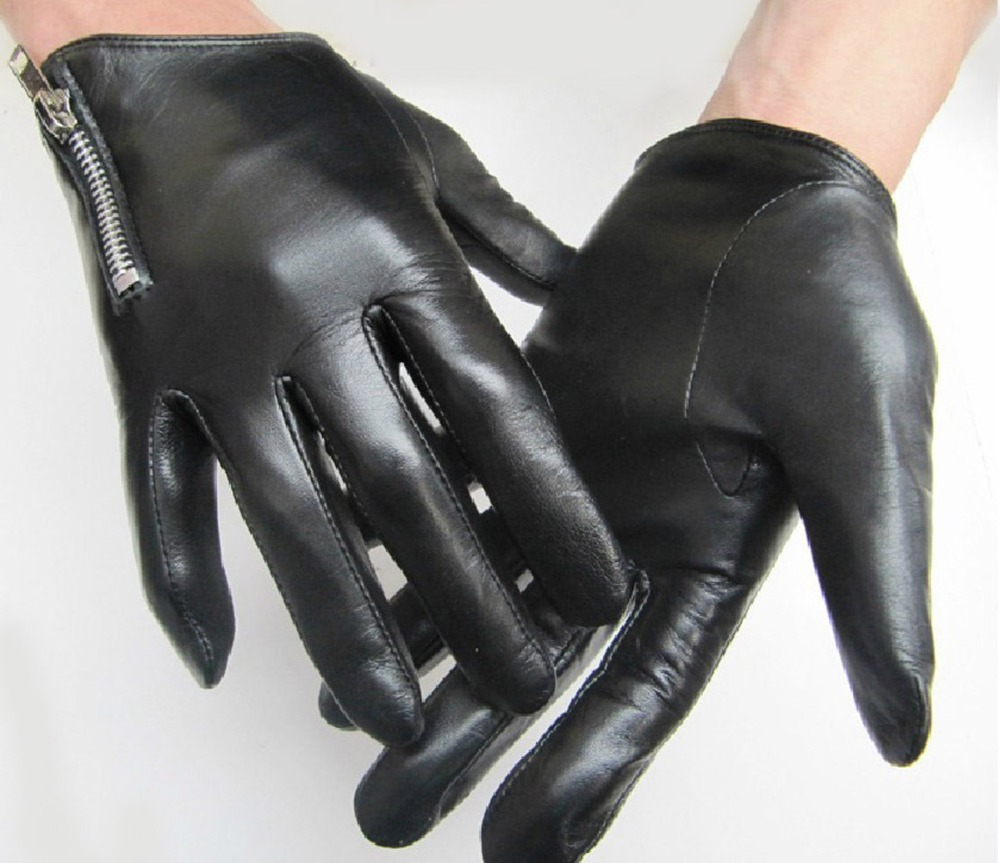 Mens leather gloves thin - Man S Short Side Zipper Top Quality Goat Leather Black Motor Everyday Gloves In Gloves Mittens From Men S Clothing Accessories On Aliexpress Com