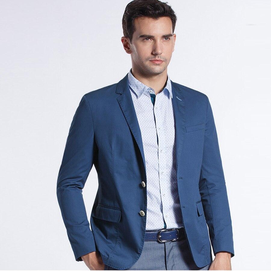 100% Wahr Neue Ankunft Licht Blau/khaki Casual Anzug Jacke Blazer Masculino Slim Fit Single Button Baumwolle Männer Mantel Männlichen Anzüge Jacke 2018 Ausgereifte Technologien