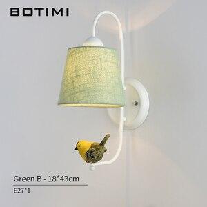 Image 4 - Тканевый абажур BOTIMI, настенный светильник с птичьим современным тканевым абажуром, настенный прикроватный светильник, железное настенное бра, светильник для комнаты s