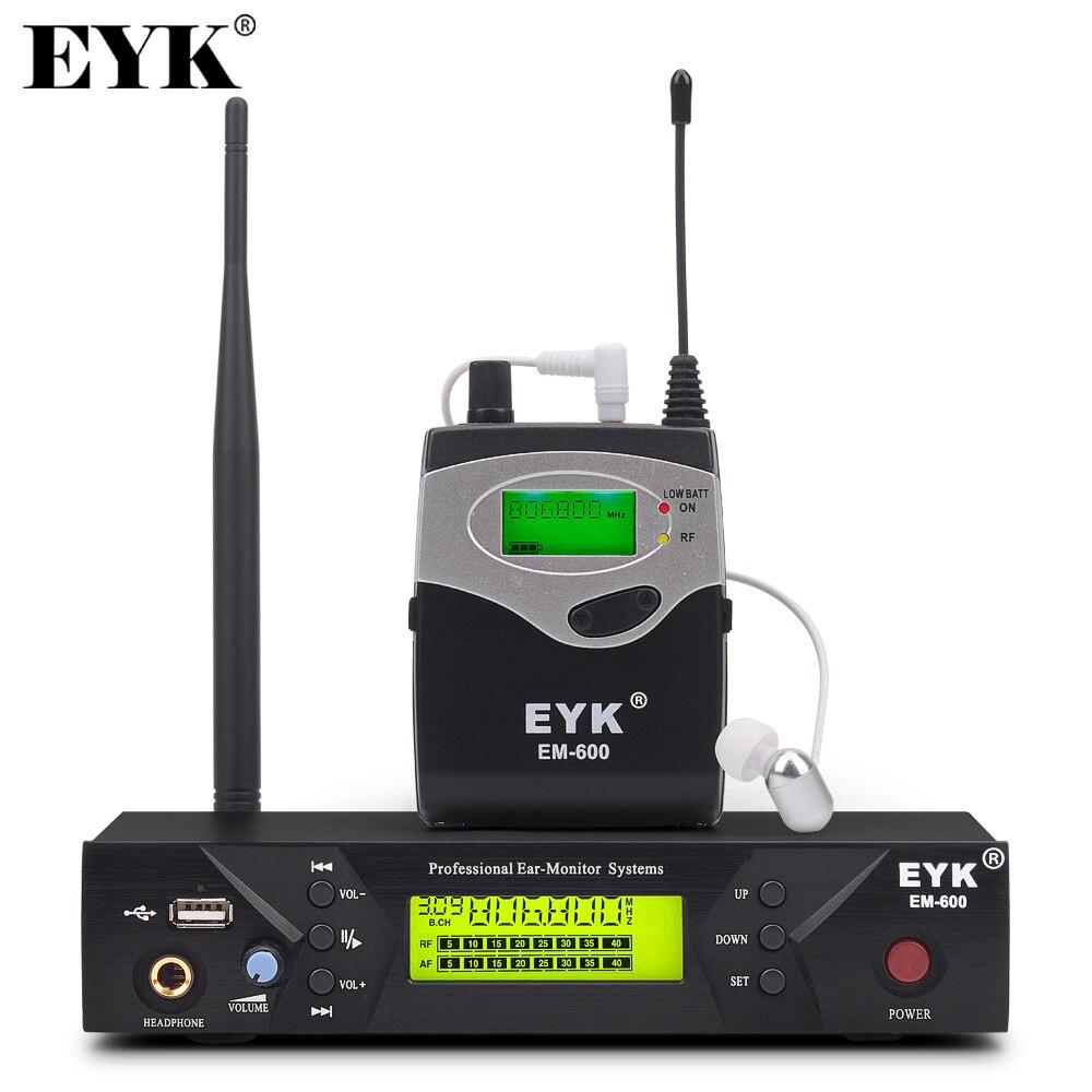 Sistema de monitorización de oído inalámbrico EM 600 sistema de monitorización de oído de rendimiento de escenario profesional con un transmisor Bodypack