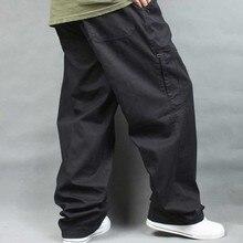 Мужские брюки-карго размера плюс, повседневные хлопковые брюки в стиле хип-хоп для бега, Свободные мешковатые с карманами, мужская одежда на весну и лето