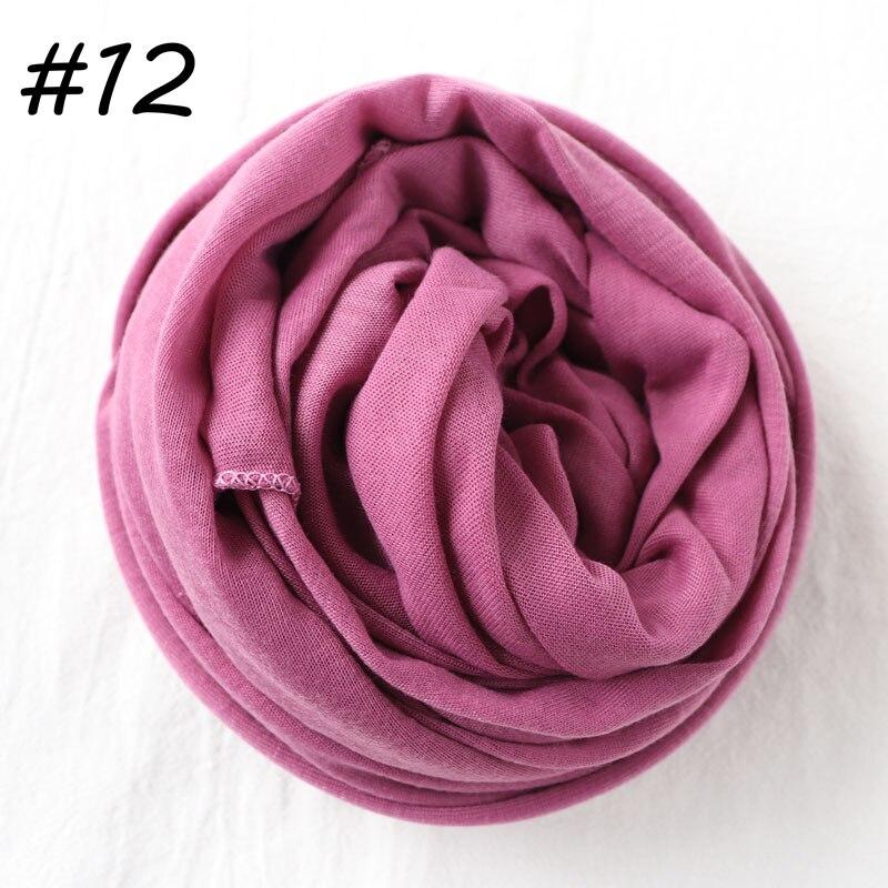 Один кусок хиджаб шарф Макси шали шарфы женские мусульманские хиджабы мусульманская леди палантин splid однотонное Джерси хиджаб 70x160 см - Цвет: 12 pale purple
