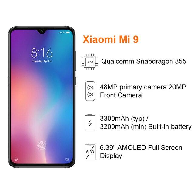 Global Version Xiaomi Mi 9 Mi9 Smartphone 6GB 64GB Snapdragon 855 Octa Core 6.39 3