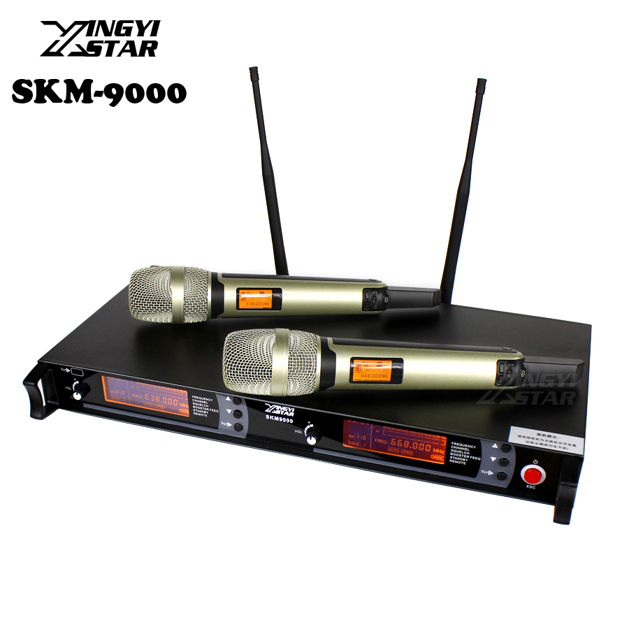 SKM9000 100 m UHF Wireless Microphone Professional Karaoke System Dual Cordless Mic 2 Channel Receiver KTV Microfono Inalambrico boya by whm8 professional 48 uhf microphone dual channels wireless handheld mic system lcd display for karaoke party liveshow