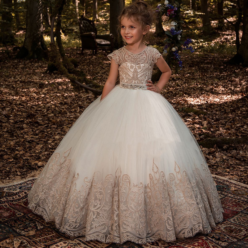 New Arrival Girls Beading Sash Ball Gowns Lace Appliques Floor Length Flower Girls Princess Elegant Wedding