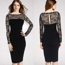 free shipping M-XXXL plus size women New Fashion Bodycon Pencil Business office dress evening Button black Midi lace  dress
