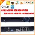 Vigilância H.264 PoE NVR 8 Channel para 3MP FULL HD 1080 P câmera IP PoE 8CH PoE NVR 1080 P 48 V 802.3af ONVIF 2.0 wi fi 3 G
