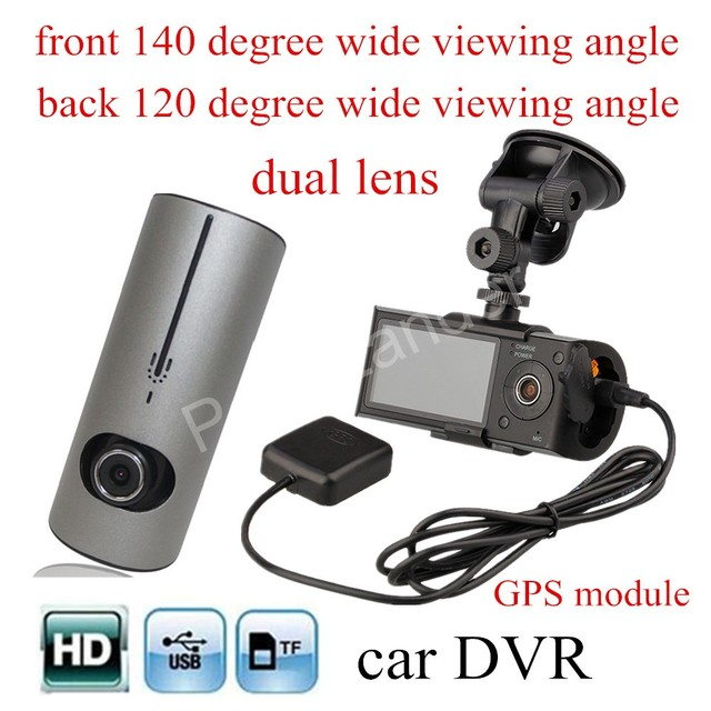 high quality Dual Lens Car DVR with GPS module G-Sensor with 120 degree wide view angle rear camera Camcorder Camera Recorder