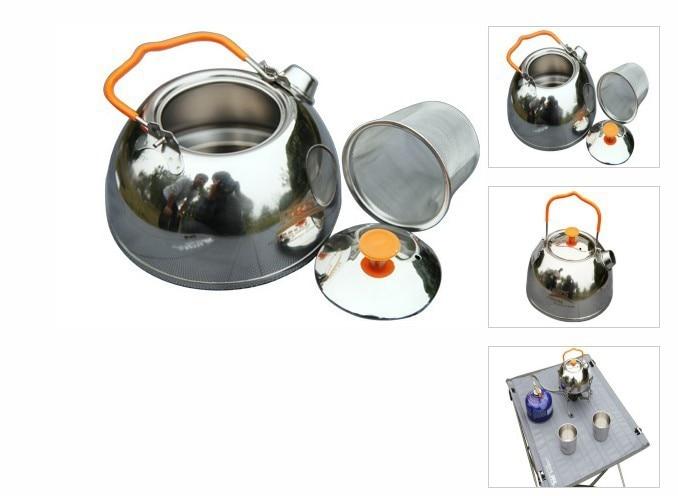 Brs tetera que acampa caldera hervidor de agua de acero inoxidable utensilios de