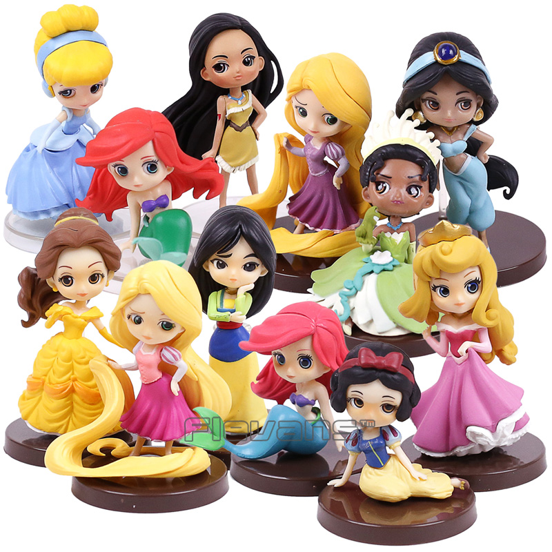 Princesses Dolls The Little Mermaid Ariel Cinderella Snow White Beauty and the Beast Mulan Rapunzel Mini PVC Figures Toys Gifts snow white and the seven dwarts сказки 3d