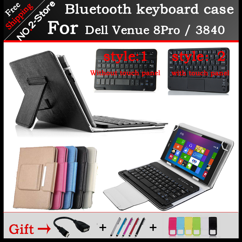 For Dell Venue8 Pro Bluetooth Keyboard Case 8 Inch Tablet Bluetooth Keyboard case for dell v8 pro /3840 Freeshipping+ Gift