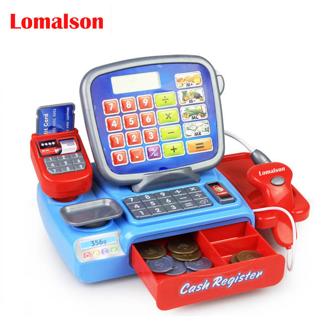 Mini Ping Grocer Supermarket Cash Register Toy Simulation Furniture Checkout Pretend Play House