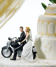 Fondant cake decorating tool Bride and Groom toppers Couple Figurine funny motor resin wedding cake topper
