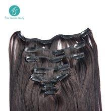 Brazilian virgin hair straight hair clip in extension hair high quality brazilian human hair extension free shipping