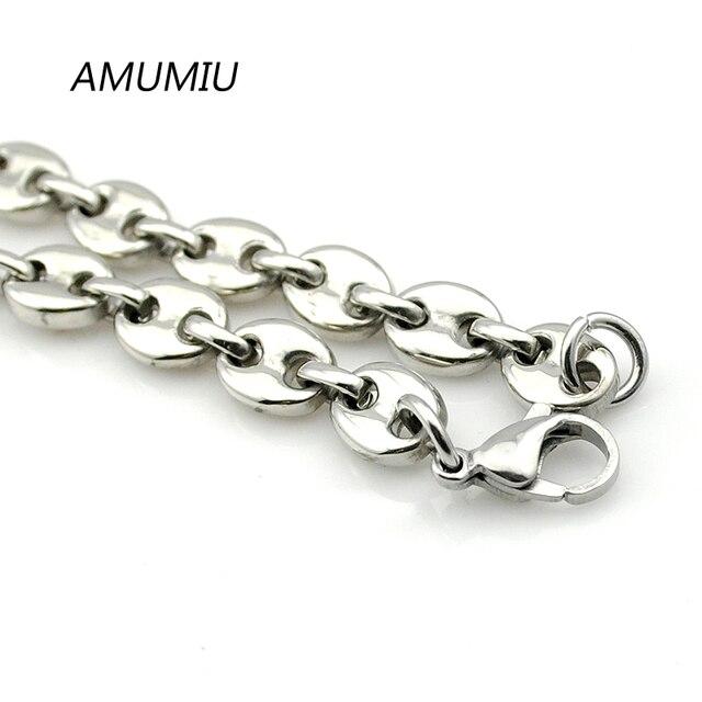 AMUMIU-collier en acier inoxydable pour hommes | 316l 6mm, chaîne à maillons en perles, bijoux 2017 hommes femmes HZN111