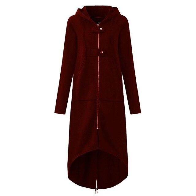 CROPKOP Fashion Long Sleeve Hooded Trench Coat 2018 Autumn Black Zipper Plus Size 5XL Velvet Long Coat Women Overcoat Clothes 6