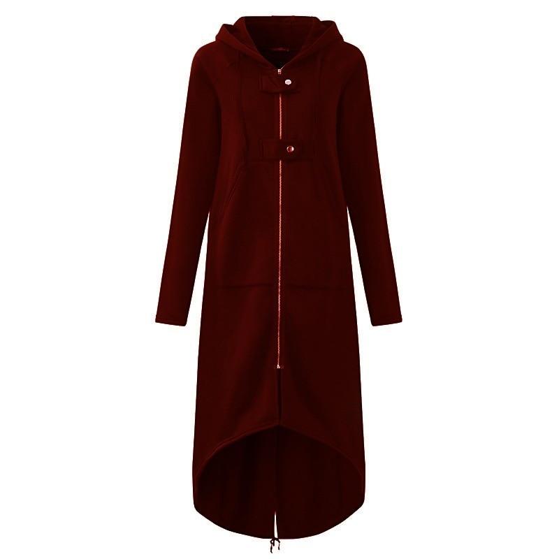 CROPKOP Fashion Long Sleeve Hooded Trench Coat 2018 Autumn Black Zipper Plus Size 5XL Velvet Long