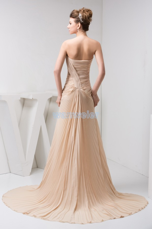 free shipping 2018 new arrival hot seller custom pleat gown champagne luxury real photo small train bridesmaid dress in Bridesmaid Dresses from Weddings Events