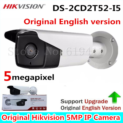 Hikvision Original English Version Surveillance Camera DS-2CD2T52-I5 5MP Bullet POE CCTV Security Camera With 50m IR CCTV Camera hikvision ip camera 4mp bullet security camera with poe network camera ds 2cd2042wd i video surveillance 4pcs lot dhl shipping