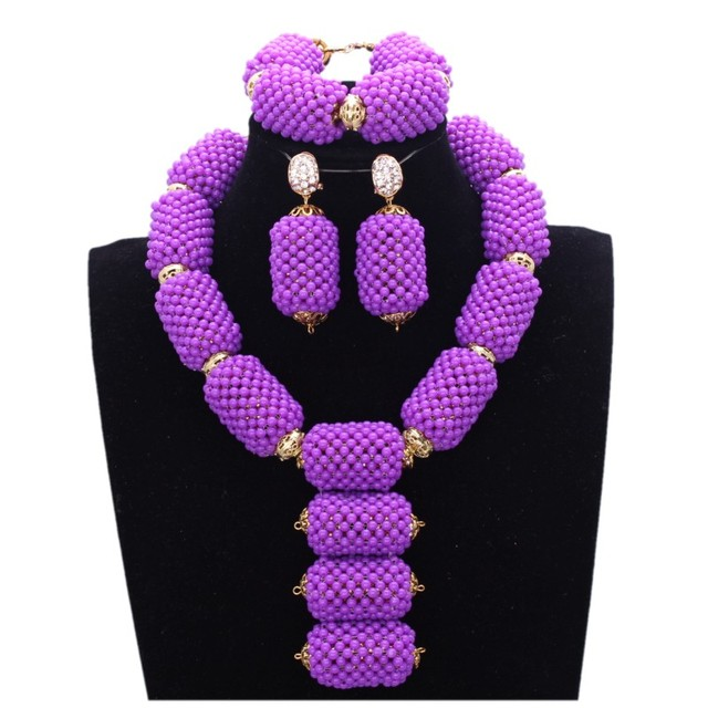 4UJewelry Fashion Wedding Bridal Jewelry Sets For Women in Purple With Gold Color Balls Indian Jewellery Set Free Shipping 2018