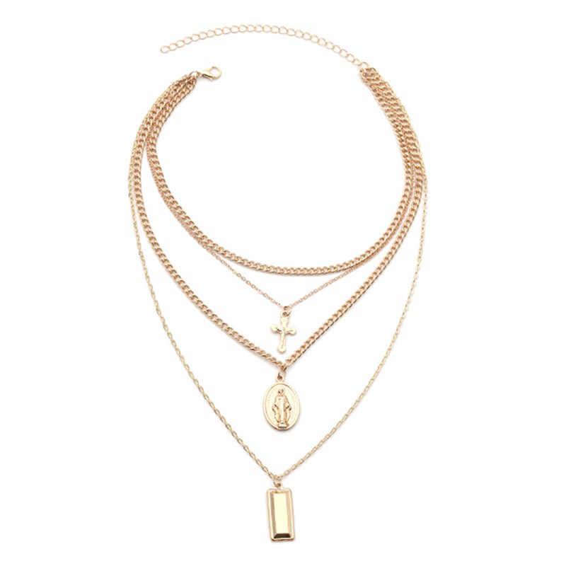Sliver wisior z krzyżem w kolorze złotym naszyjniki dla kobiety wisiorek długi naszyjnik Bijoux biżuteria hurtowych