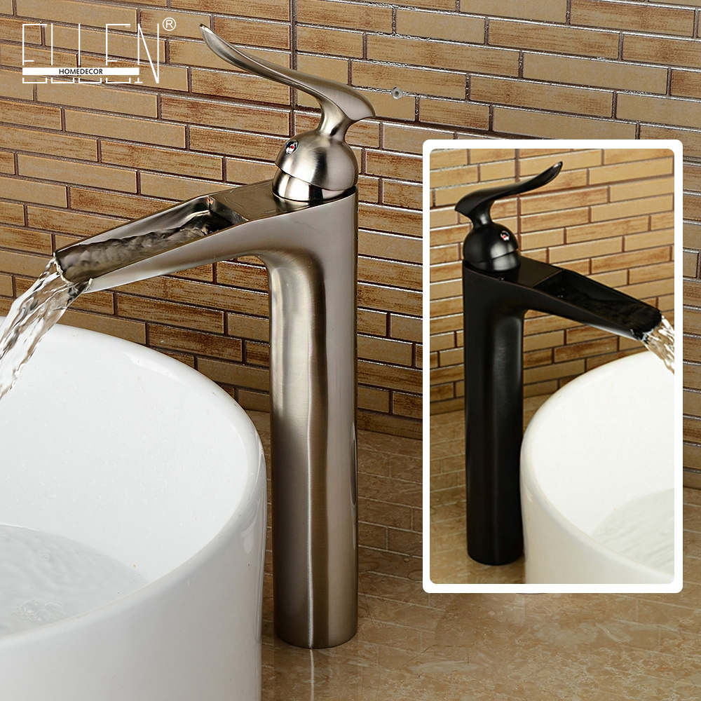 Brushed nickel bathroom sink faucet single handle single hole bathroom tall faucets cold and hot water tap mixer ELRN12Brushed nickel bathroom sink faucet single handle single hole bathroom tall faucets cold and hot water tap mixer ELRN12