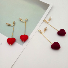 Korea Style Charm Peach Heart Long Bar Gold Color Clip on Earrings Without Piercing for Girl Party Needn't Ear Hole Ear Clip New