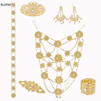 Luxury Wedding Jewelry Set For Women Arabic Dubai Full Set Jewelry in Gold Big Size Costume Necklace Sets