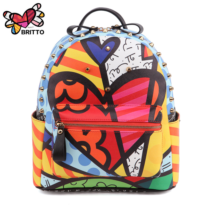 FEELINGBAGS Store ROMERO BRITTO  2017 Hot Sales New Female Cartoon Graffiti Backpacks School Bags Travel Rivets Woman Fashion Backpack