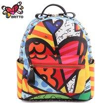 ROMERO BRITTO 2017 Hot Sales New Female Cartoon Graffiti Backpacks School Bags Travel Rivets Woman Fashion