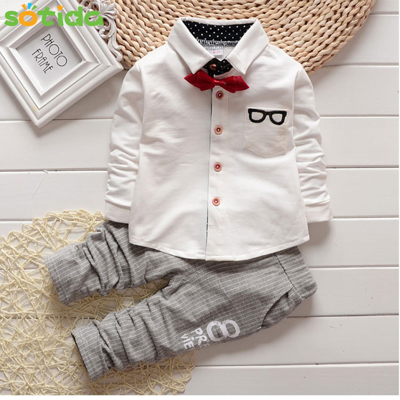 2018 New Fashion Kids Clothes Spring & Autumn Baby Boys Sets Kids Long Sleeve Sports Suits Bow Tie T-shirts + Pants Boys Clothes kids clothes sets wholesale spring and autumn boys sports leisure suit t shirt hoodie long pants free shipping in stock