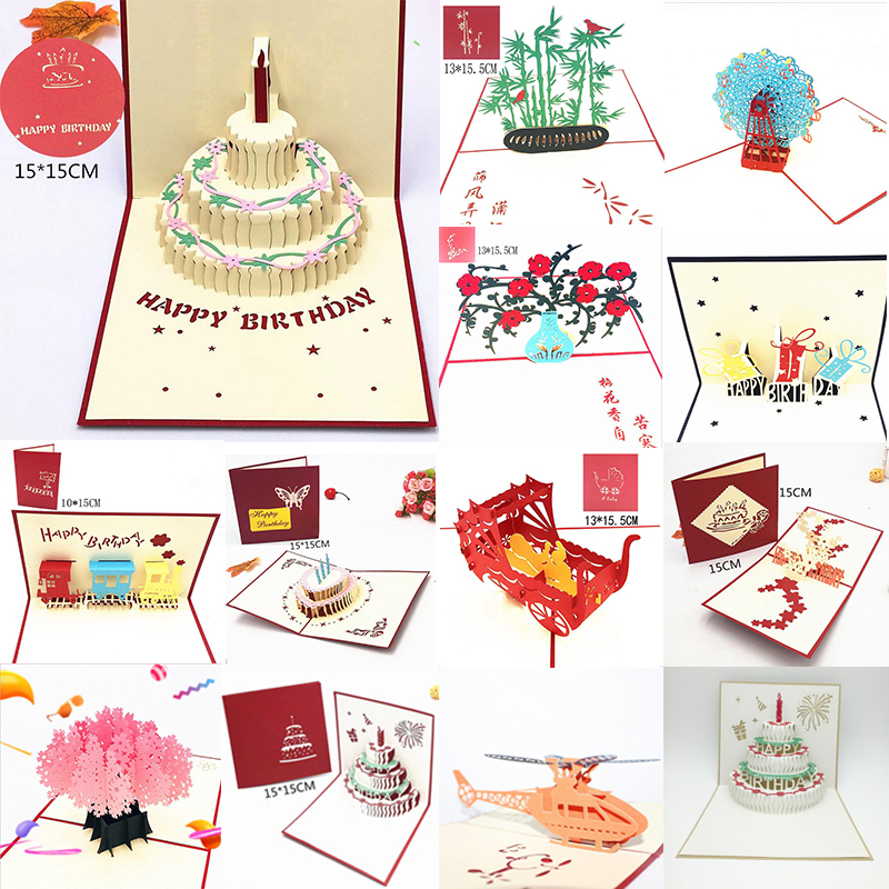Happy Birthday Postcard Greeting Gift <font><b>Cards</b></font> <font><b>Blank</b></font> Paper 3D Handmade Pop Up Laser Cut Vintage <font><b>Invitations</b></font> Custom with Envelope image