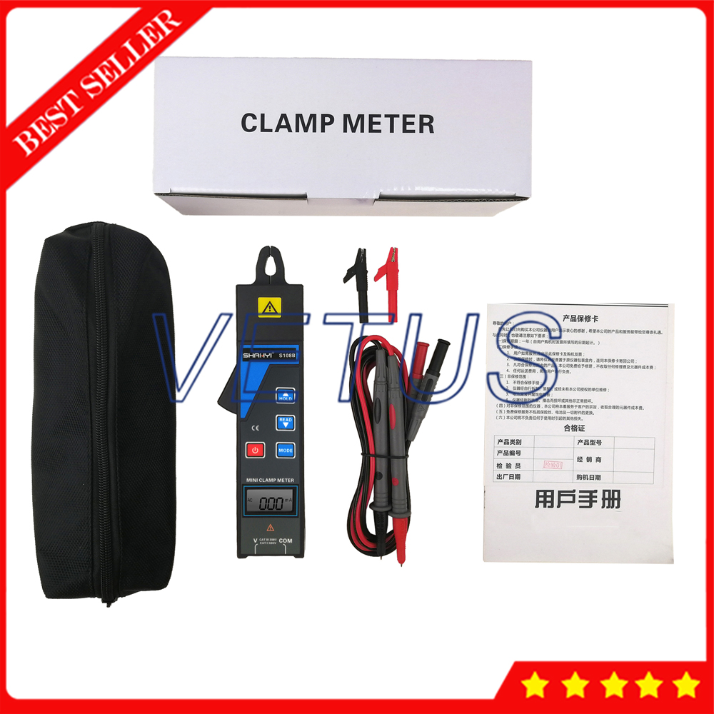Мини клещи, измеритель утечки тока, тестер амперметр, Частотный детектор, тестер напряжения переменного тока, диапазон вольт 0,00 в до 600 в S108B