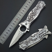 All Steel Mirror light Silvery Titanium Blade Dragon Outdoor Camping Collection Survival Pocket Knife Tactical knifes 3D Carving