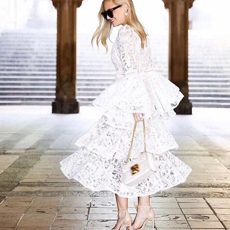 High Chiarore Del Merletto Sexy Bianco Lusso Modello Lungo Qualità Manicotto 2019 Dell'impero Personalizzato White Boemia Di Lunga Della Alta Vita end Delle Donne Vestito rwqr4xC7