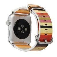 Rainbow Smart Apple Watch Leather Band Straps 42mm 38mm Women Men Wristband Bracelet for iwatch series 4,3 Nike+