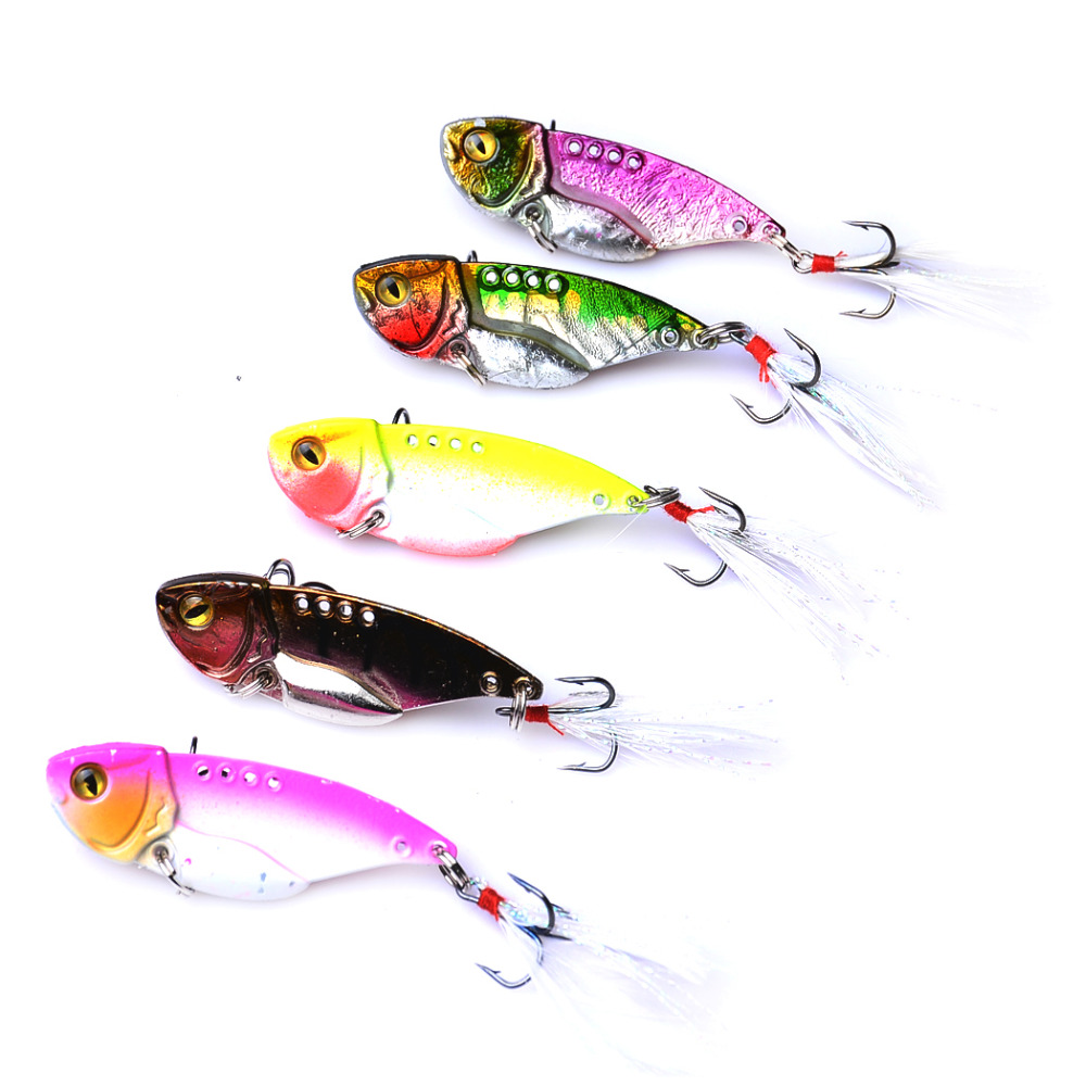 YUZI 20pc 5cm 10g new VIB Lure metal fishing lures Fresh Shallow Feathers Walleye Crappie fly hooks lure Tackle
