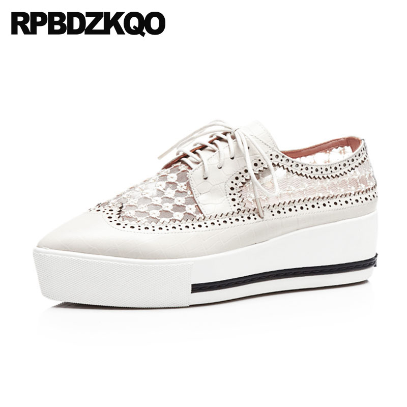 Harajuku Creepers Beige Mesh Platform Pointed Toe Brogue Lace Up Wedge Oxfords Women Shoes Genuine Leather Medium Heels Casual qmn women genuine leather platform flats women laser cut square toe brogue shoes woman oxfords women leather creepers 34 42