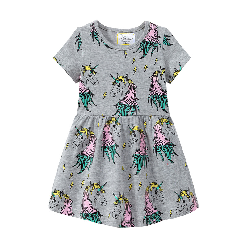 961d8e1f480 2019 new baby girl dress gray cartoon print children princess costume  dresses cotton summer kids girls fashion dress elegant