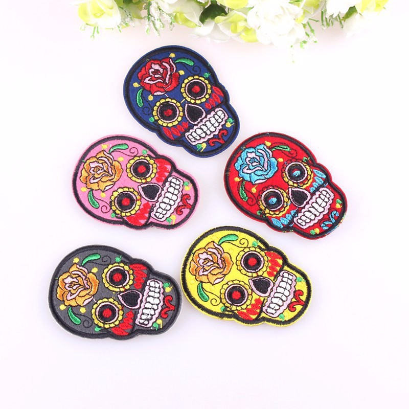 U3010Hot Sale Punk Rock Rock Mexican Skull Patch Iron ( ^ ^)u3063 On On Cheap Embroidered Biker Patches ...